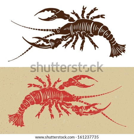 woodcut seafood icon - stock vector