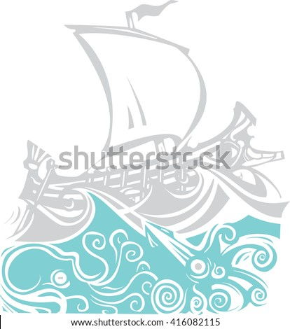 Woodcut style ancient Greek Galley with oars and sail with sea life. - stock vector