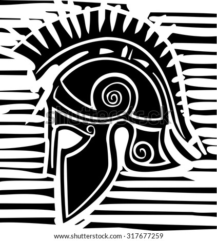Woodcut style classical Grecian soldiers helmet with crest - stock vector