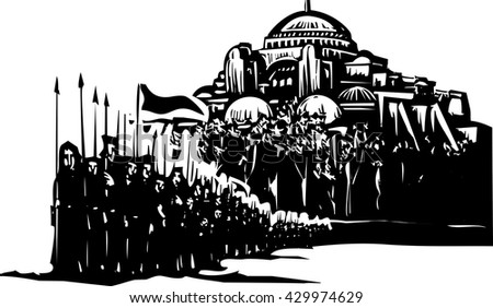Woodcut style expressionist image of a crusader army in front of Byzantium