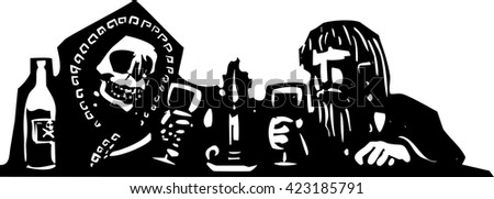 Woodcut style expressionist image of a man having a drink with the skeleton of death. - stock vector
