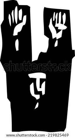 Woodcut style expressionist image of a man raising his hands in surrender. - stock vector