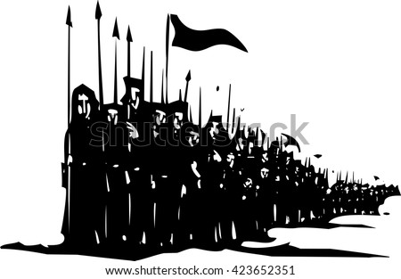 Woodcut style expressionist image of a medieval army of soldiers with spears on the march.