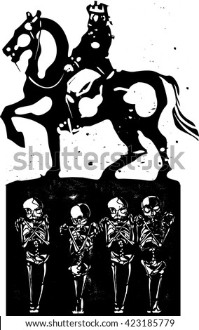 Woodcut style expressionist image of a mounted king riding over the graves of the common people  - stock vector