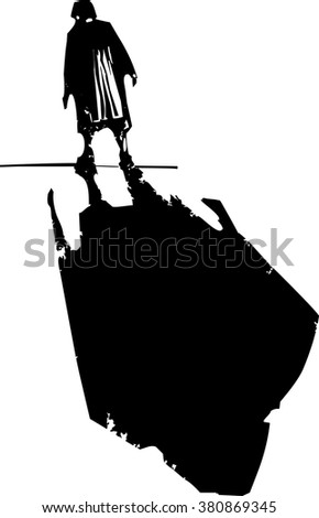 Woodcut style expressionist image of an elderly woman walking - stock vector