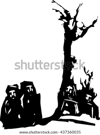woodcut style expressionist image of four Men gathered by a tree