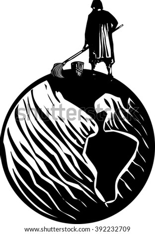 Woodcut style expressionist image of maid or scrub woman cleaning the Earth - stock vector