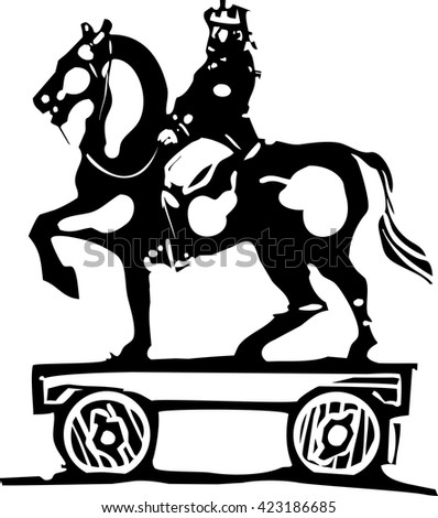 Woodcut style expressionist image of mounted on horseback child's toy with wheels. - stock vector