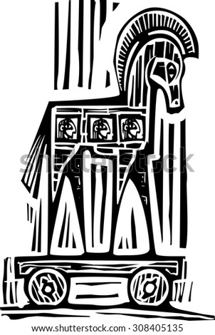 Woodcut style expressionist image of the Greek Trojan Horse - stock vector