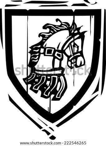 Woodcut style Heraldic Shield with a Horse's head - stock vector
