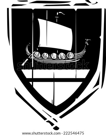 Woodcut style Heraldic Shield with a Viking Longship - stock vector