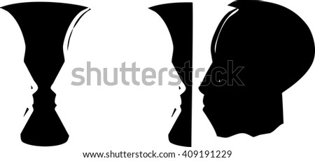 Woodcut style illusion image of a face of an african man and vase in negative space. - stock vector