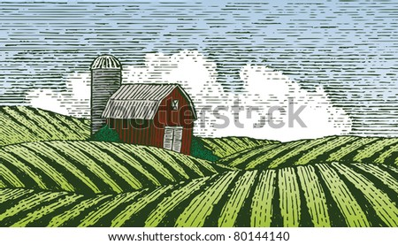 Woodcut style illustration of a barn in a rural farm scene. - stock vector