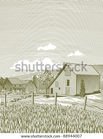 Woodcut style illustration of a barn scene. - stock vector