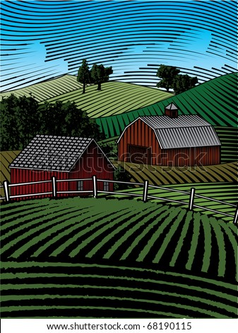 Woodcut style illustration of a farm landscape. - stock vector
