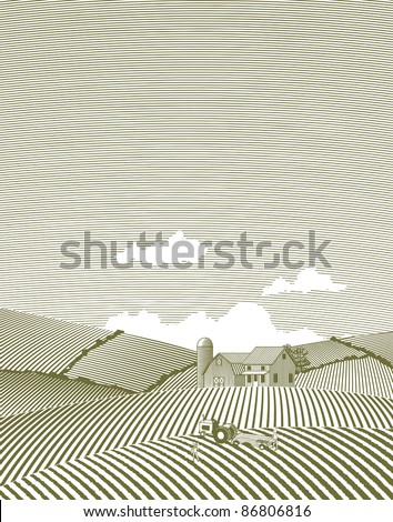Woodcut style illustration of a farm scene. - stock vector