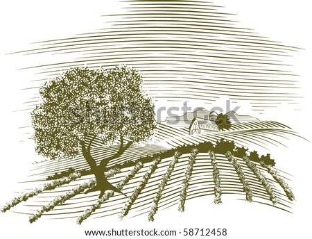 Woodcut style illustration of a farm scene with a barn in the background. - stock vector