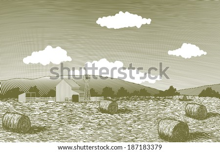 Woodcut-style illustration of a farm scene with round bales of hay. - stock vector