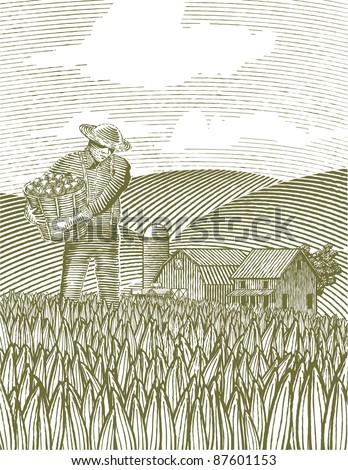 Woodcut style illustration of a farmer standing in the field. - stock vector