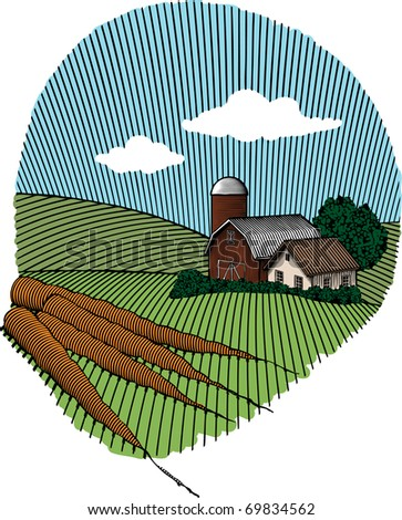 Woodcut style illustration of a group of carrots with a rural farm scene in the background. - stock vector