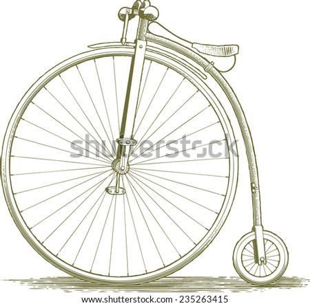 Woodcut-style illustration of a penny farthing.