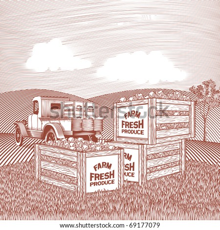 Woodcut style illustration of a pick up truck with crates of produce. - stock vector
