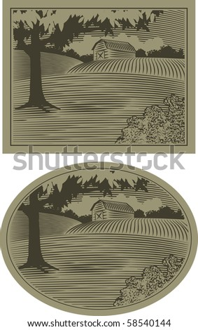 Woodcut style illustration of a rural barn scene. - stock vector