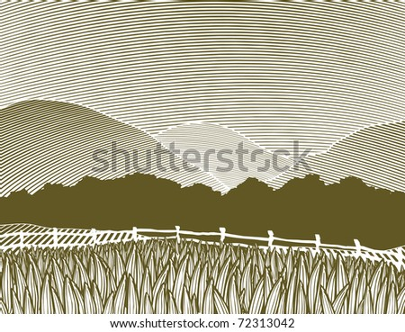 Woodcut style illustration of a rural country scene with mountains in the background. - stock vector