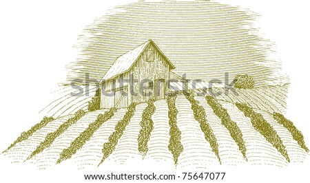 Woodcut style illustration of a rural farm scene. - stock vector
