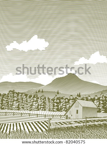 Woodcut style illustration of a rural Idaho barn. - stock vector