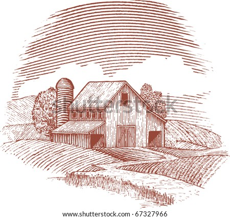 Woodcut style illustration of an old barn. - stock vector