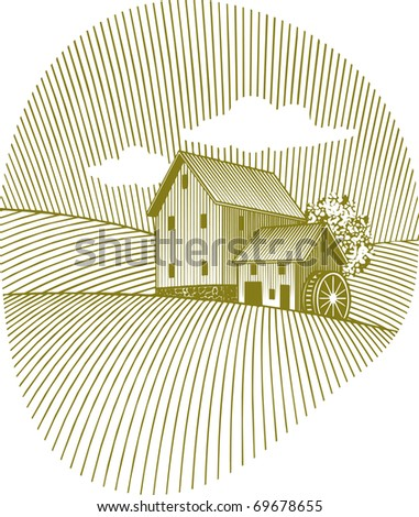 Woodcut style illustration of an old mill. - stock vector