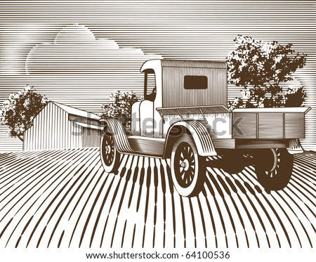 Woodcut style illustration of an old truck with a farm background. - stock vector