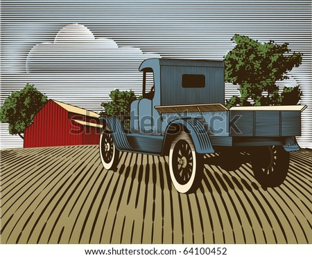 Woodcut style illustration of an old truck with a farm background.  Note: the colored background is on a separate layer and is removeable. - stock vector
