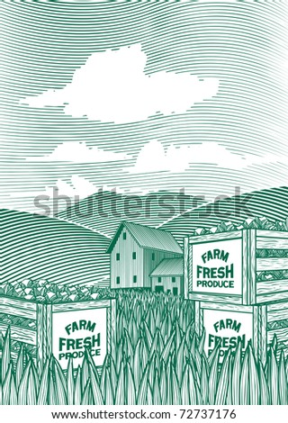 Woodcut style illustration of vegetable crates sitting on the ground with a barn in the background. - stock vector