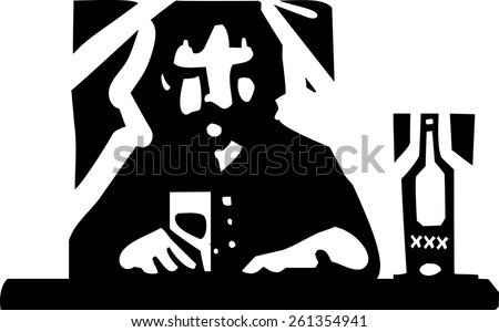 Woodcut style image a man drinking alone at a bar - stock vector