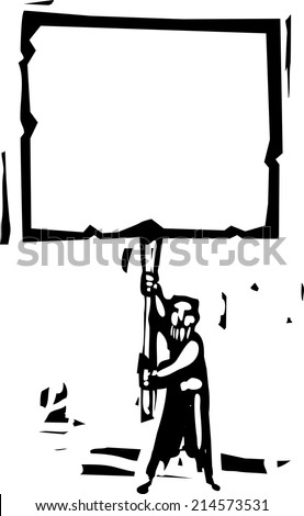 Woodcut style image of a bearded man holding a blank sign. - stock vector