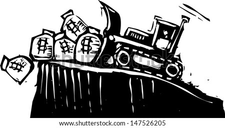Woodcut style image of a bulldozer pushing money bags off a cliff. - stock vector