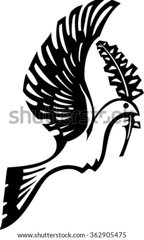 Woodcut style image of a dove of peace flying with an olive branch - stock vector