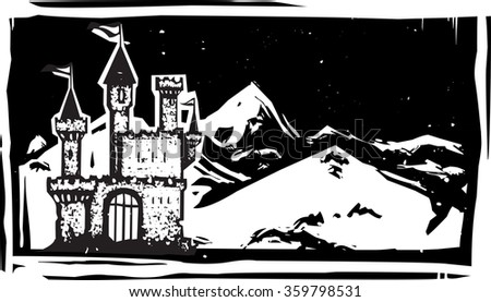 Woodcut style image of a fairy tale castle in snowy mountains. - stock vector