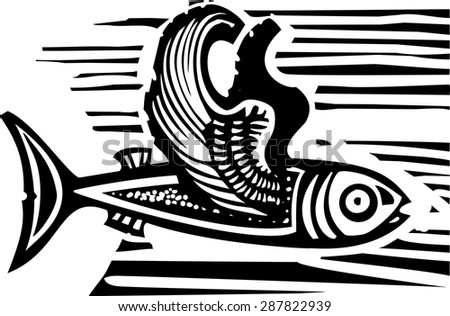 Woodcut style image of a flying fish with feathered wings. - stock vector