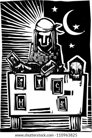 Woodcut style image of a gypsy giving a tarot reading. - stock vector