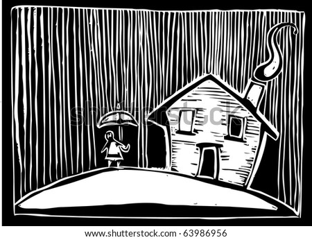 Woodcut style image of a house in the rain.