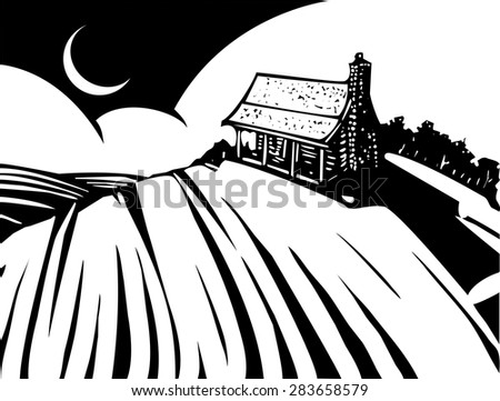 Woodcut style image of a log cabin house on a prairie.
