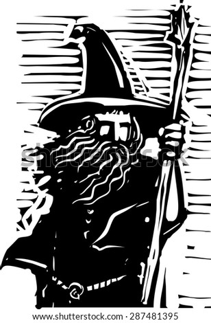 Woodcut style image of a magical wizard holding a staff - stock vector