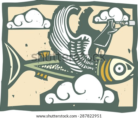 woodcut style image of a man with a telescope riding a winged fish. - stock vector