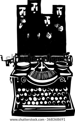 Woodcut style image of a manual typewriter with woman wearing Islamic hijabs emerging from it.