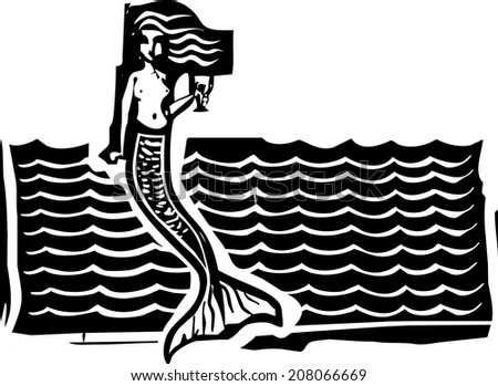 Woodcut style image of a mermaid in the waves. - stock vector