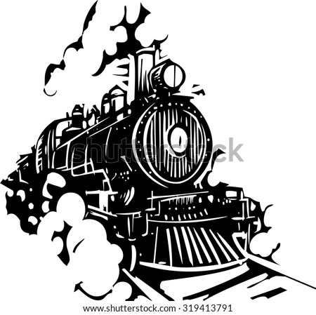 Woodcut style image of a railroad locomotive train coming towards the viewer.
