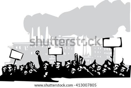 Woodcut style image of a riot or protest in front of a factory  - stock vector